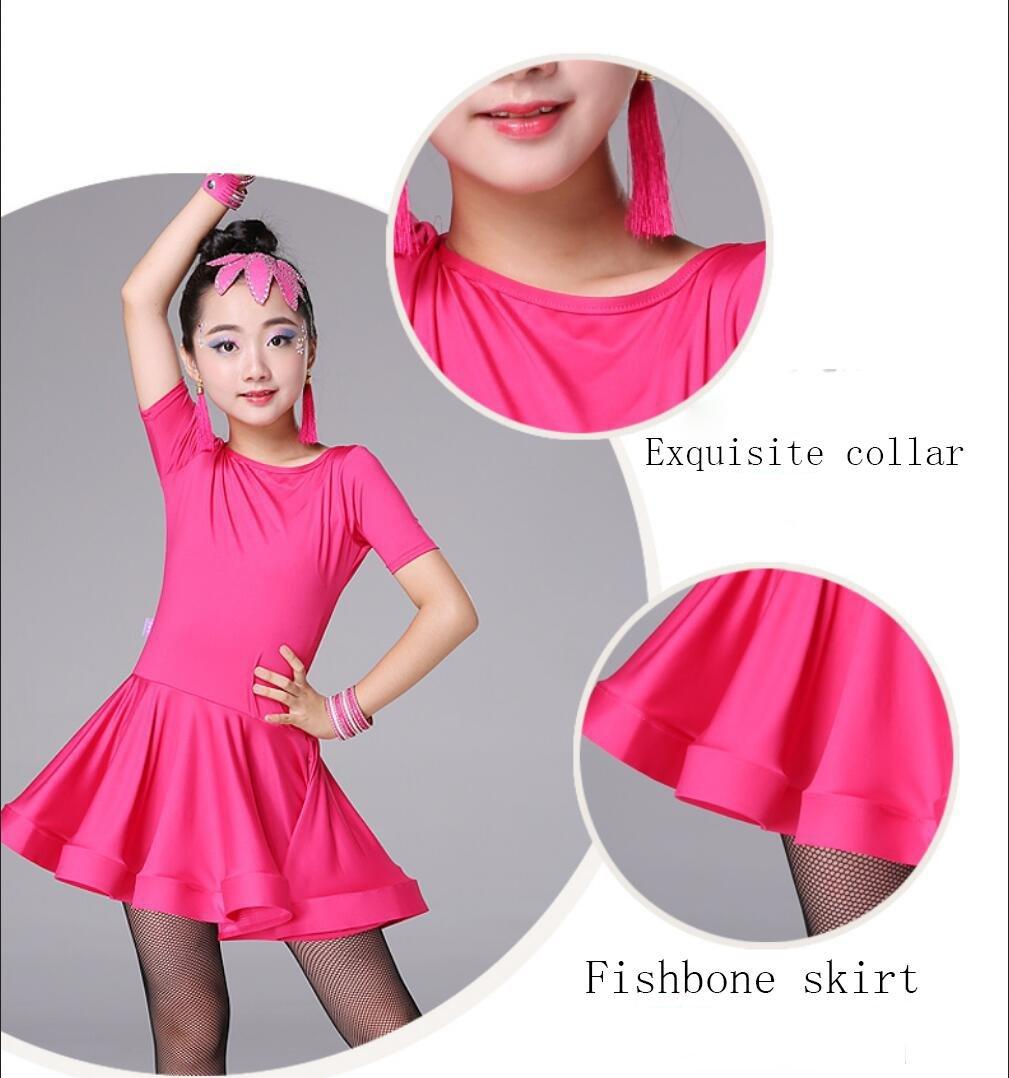 Kinder Latein Tanz Rock Kinder weibliche /Übung Kleidung Prinzessin Kleidung Kinder Latin Dance Kleidung Wettbewerb Kost/üm Rose Black
