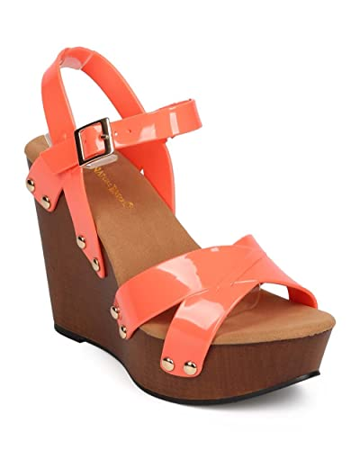 0c2854dbc497 Women Jelly Peep Toe Studded Criss Cross Clog Wedge Sandal EB06 - Coral  (Size  Roll over image to zoom in. Nature Breeze