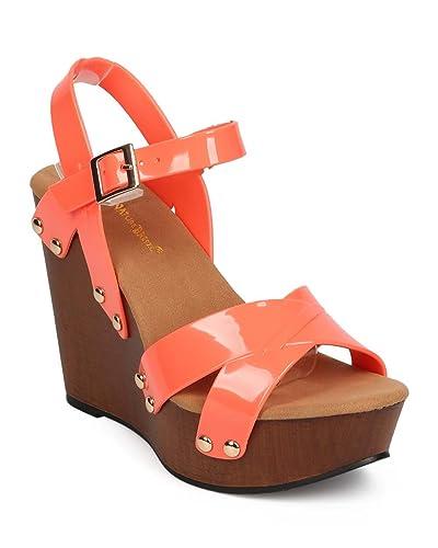 0ae1b49b4c Women Jelly Peep Toe Studded Criss Cross Clog Wedge Sandal EB06 - Coral  (Size: