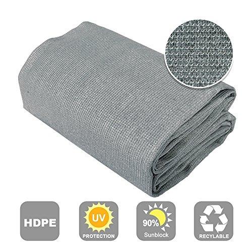 (Shatex 90% Sun Shade Fabric for Pergola Cover Porch Vertical Screen 6' x 15', Grey)