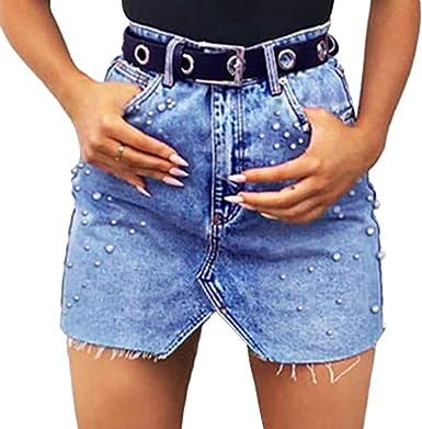 Vaquera Faldas Perla A Línea Cortas Falda Cintura Alta Rotos ...