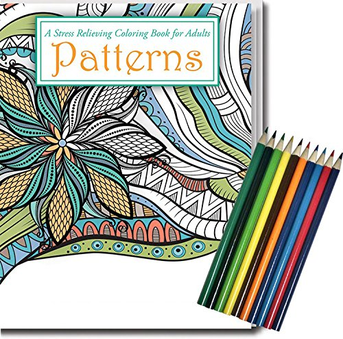 PATTERNS: Adult Coloring Book & Colored Pencils Set - Stress Relieving Geometric Patterns Safety Magnets