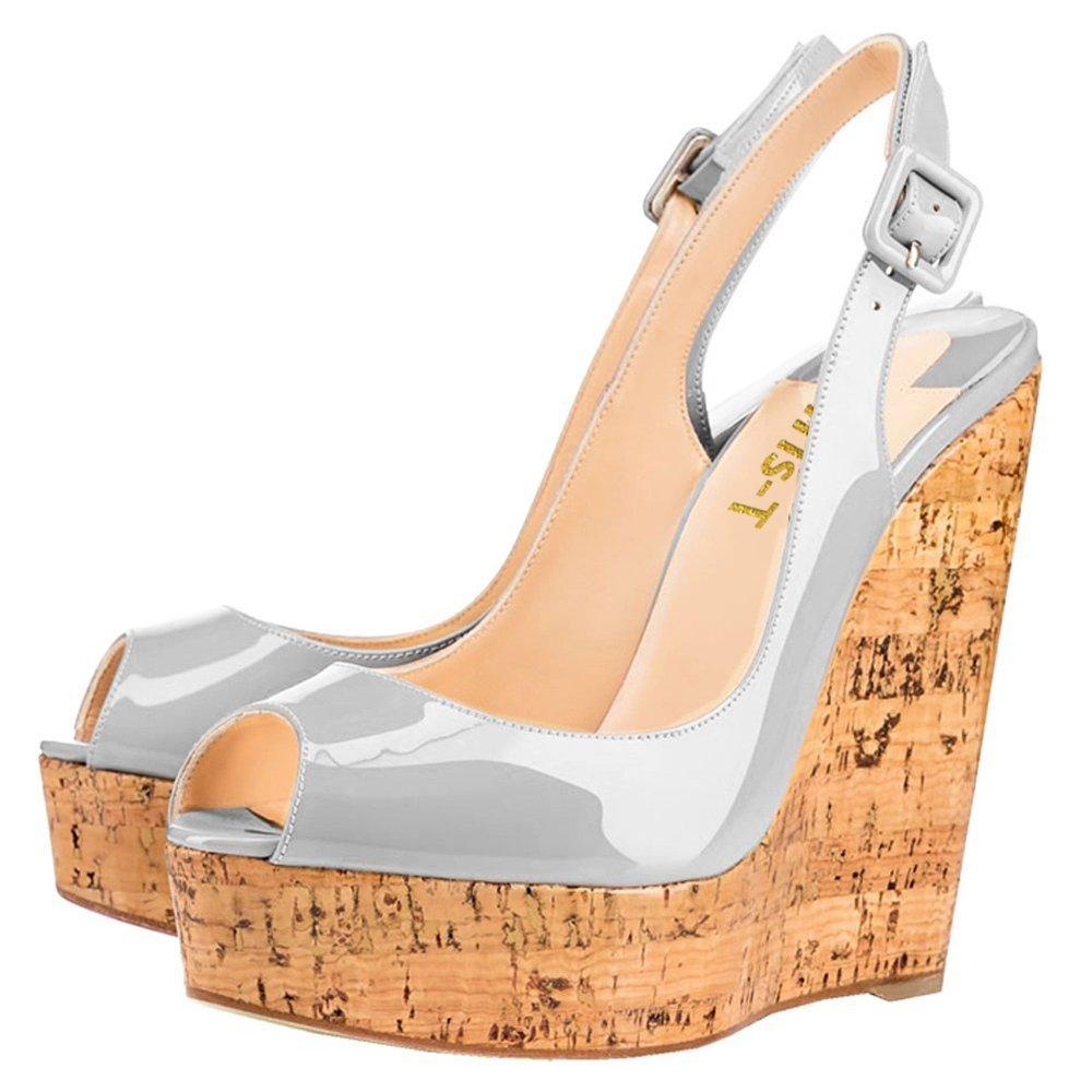 Chris-T Women's Wedges Sandals High Platform Open Toe Ankle Strap Party Shoes B07D4GQT2H 13 B(M) US|Gray