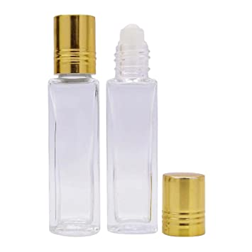 894635a919e6c Amazon.com   8 ml Empty Clear Glass Roll-On Bottles Refillable Essential Oil  Perfume Roller Bottles Wholesale Golden Cap Lot Of 6 Attar Bottles   Beauty