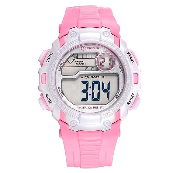 Relojes para niños/Chicas deporte digital resistente al agua reloj digital/ versátil con reloj digital alarma-B: Amazon.es: Relojes