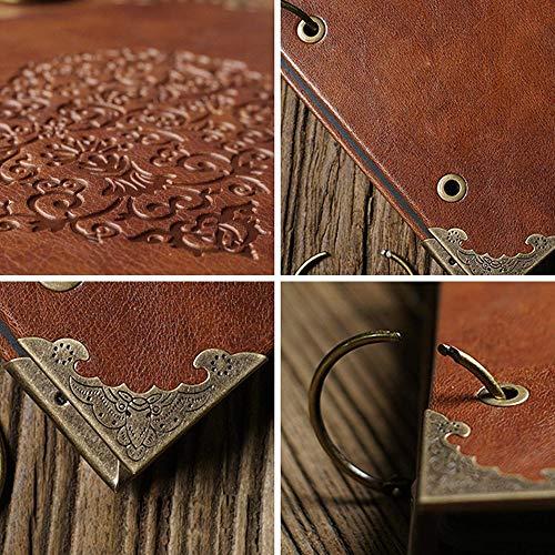 Longpro Creative DIY Loose-Leaf Photo Album Leatherette Binded Album Series Anniversary Scrapbook Voyage, Coffee