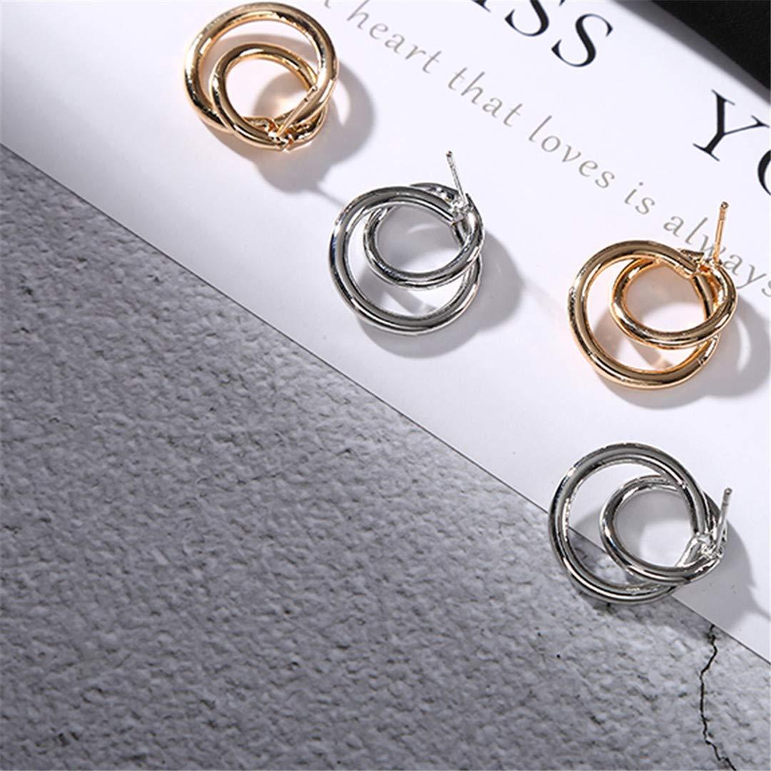 Double Circle Stud Earrings For Women Fashion Jewelry Geometric Round Earring