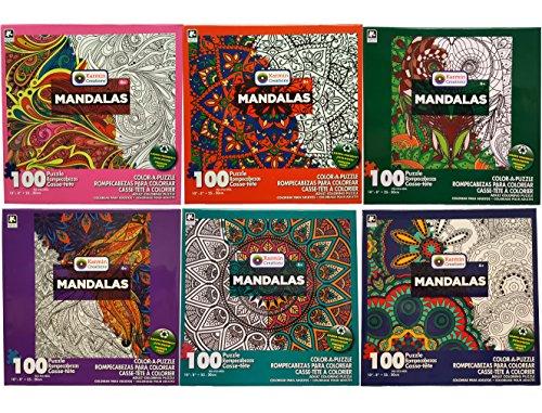 Karmin International Set of 6 Color-A-Puzzle Mandalas 100pc Puzzle! Eco-Friendly! Draw, Paint or Pencil! Make the Puzzle, Color it, and Frame it! 10