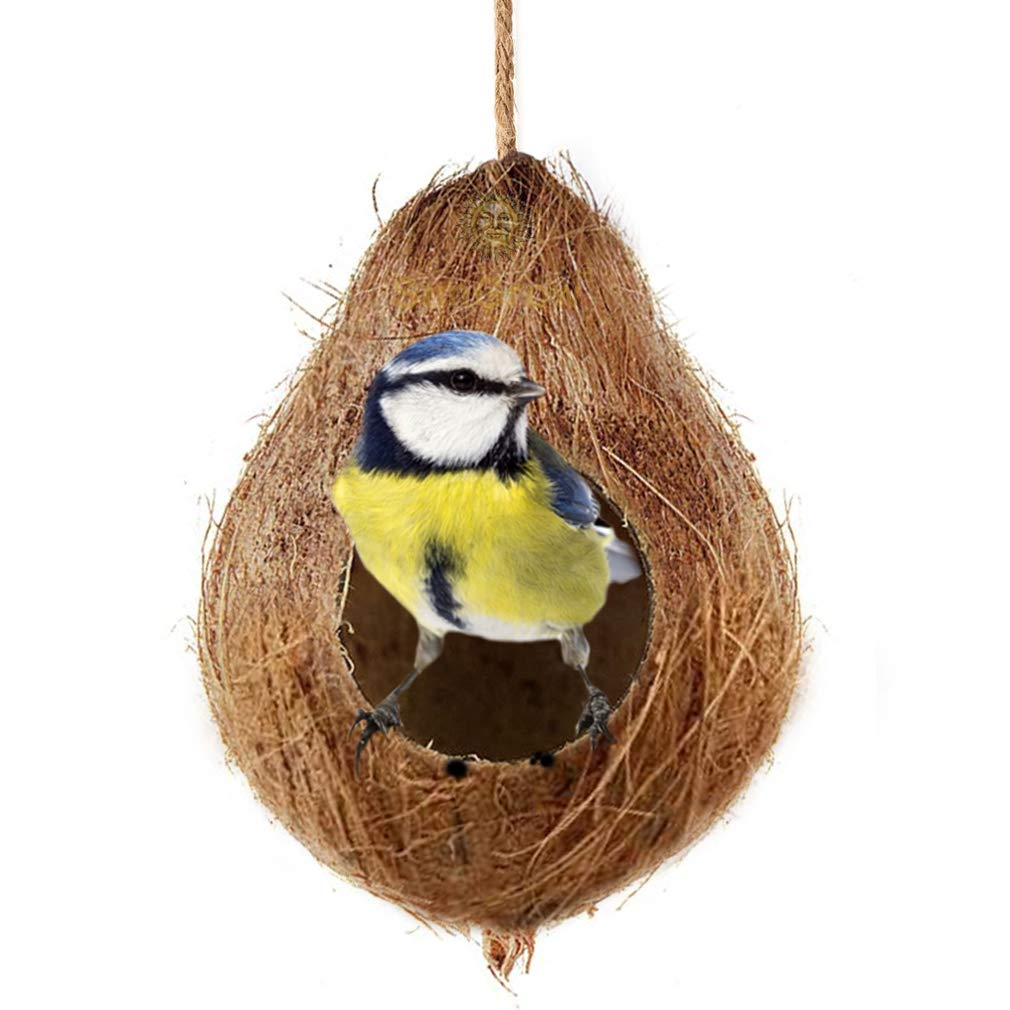 SunGrow Coco Shell Bird House, 4.5 Inches Shell Diameter with 2.5 Inches Opening Diameter, for Small to Medium Birds, Raw Coconut Husk, Treat Dispenser, Durable and Sturdy, Includes Hanging Loop