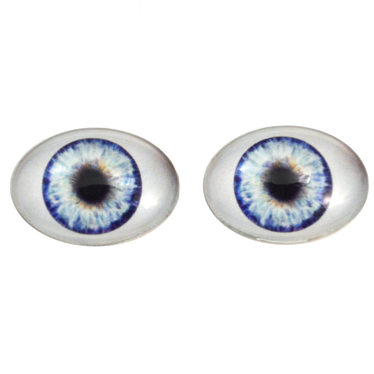 Blue Doll Oval Glass Eyes Fantasy Taxidermy Art Doll Making or Jewelry Crafts Set of 2 (30mm x 40mm)