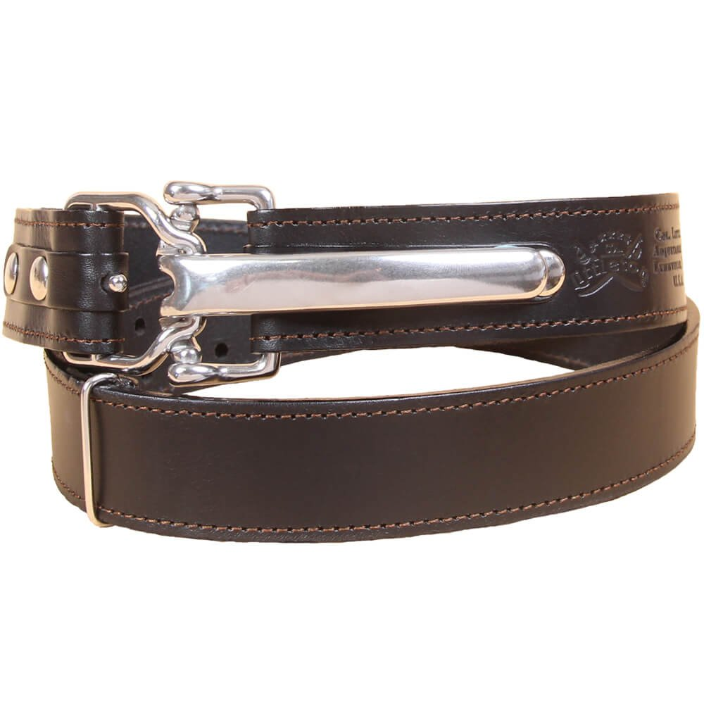 Black Leather Mens Belt Adjustable No. 5 Stainless Cinch Buckle XLarge USA Made Italian Bridle Unique 1 3/16 in wide