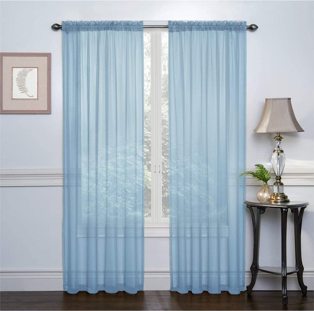 GoodGram 2 Pack: Basic Rod Pocket Sheer Voile Window Curtain Panels - Assorted Colors & Sizes (Baby Blue, 84 in. Long Pair)