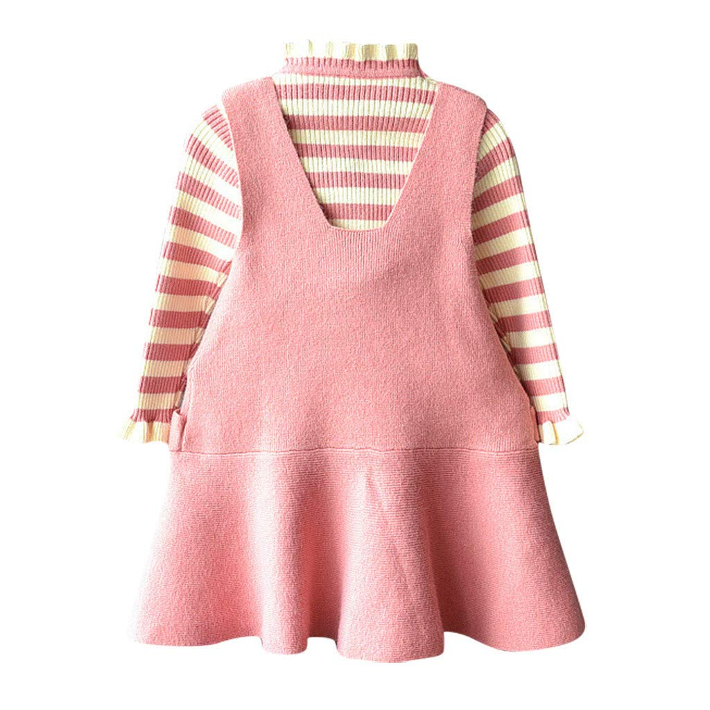 toraway Baby Outfits Toddler Kids Baby Girls Sweater Knit Crochet Stripe Shirt+Dress Princess Outfit (2-7Years) by toraway-