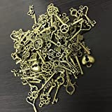 KING DO WAY 69pcs Antique Bronze Vintage Skeleton Keys Charm Set DIY Handmade Accessories Necklace Pendants