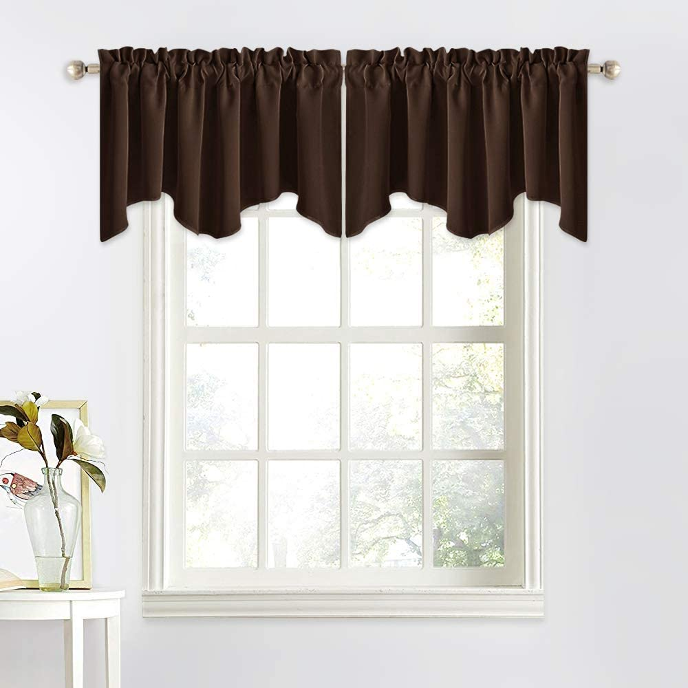 Amazon Com Nicetown Blackout Valance For Small Window 52 Inches By 18 Inches Scalloped Curtain Tiers Window Topper Treatment For Bathroom Kitchen Bay Window Toffee Brown Single Panel Home Kitchen