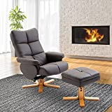 HOMCOM Leather Recliner and Ottoman Set Swivel Lounge Chair, With Storage Space Footrest