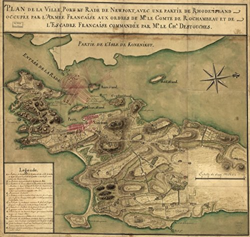 Map: 1780 French Map Shot of city, harbor, and harbor of Newport, with part of Rhode-Island occupied by French - Shopping Island Rhode Newport