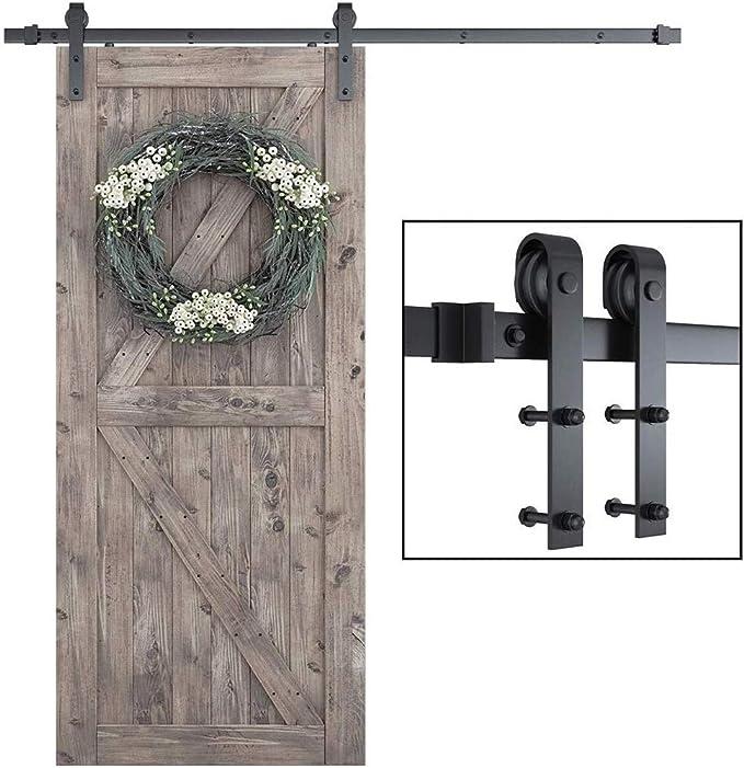 Tobogán de acero deslizante pista del carril de suspensión de rodillos for puerta de madera Herrajes for puerta corrediza de bypass Track Kit, Fit sola puerta, 1,25 M / 1,5/1,6 M: Amazon.es: