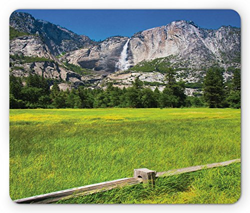 Ambesonne Yosemite Mouse Pad, The Falls in Yosemite National Park California USA Countryside Landmark Picture, Standard Size Rectangle Non-Slip Rubber Mousepad, Green (Lifestyle California Country Table)
