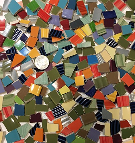 Peppers Planter - Mosaic Tile Art Supply for Mosaics & Crafts ~ 2 lbs of Colorful Tiles ~ Solid Colored Mosaic Mix #7 (T#615)