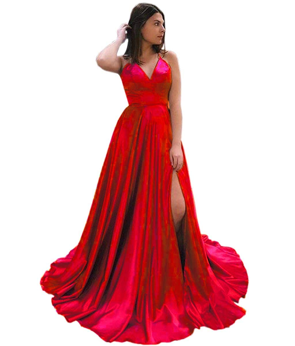 Red Mauwey Halter Neck Satin Prom Dress Split with Pockets Evening Gown Long Maxi for Women Formal
