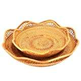 amololo Hademade Flower Shape Fruit Basket Food Caddy Snack Storage Tray Dinning Room Bowl (2-Size S+L)