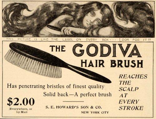 1903 Ad Godiva Hair Brush Penetrating Bristles Howards - Original Print Ad (Godiva Corporate)