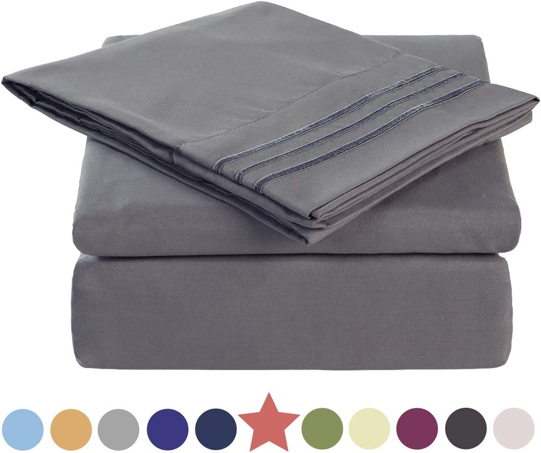 TEKAMON Premium 4 Piece Bed Sheet Set 1800 Bedding 100% Microfiber Polyester - Super Soft, Warm, Breathable, Cooling, Wrinkle and Fade Resistant - 10-16'' Extra Deep Pockets - Queen, Dark Grey