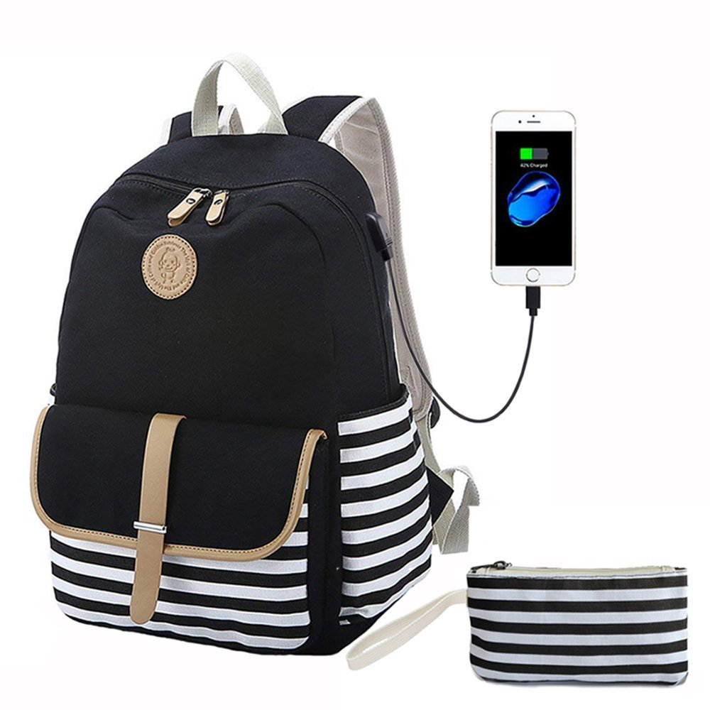 Teens School Backpack Set, Canvas Unisex Bookbags USB Charging Port, Fit 14'' Laptop Backpack, 2 in 1 Clutch Purse (Black Stripe)