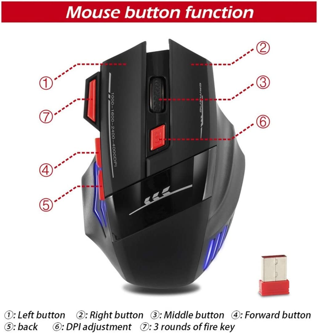 Mac GSUMMER Wireless Mouse Gaming Mouse 7 Button 4000 DPI Blu-Ray Gaming Mouse USB with Receiver Rechargeable Mouse for Gaming Laptop Laptop PC
