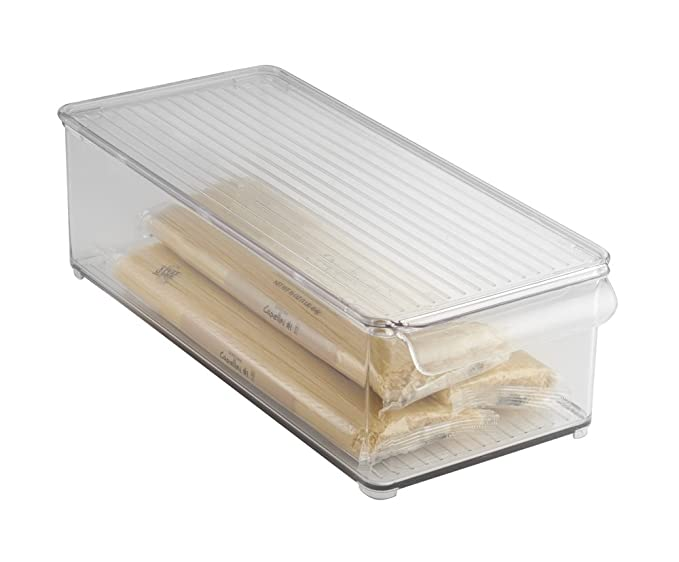 mDesign Caja organizadora con Tapa para la Cocina - Cajonera plástico Ideal para el congelador o frigorífico - Botellero apilable en Color ...