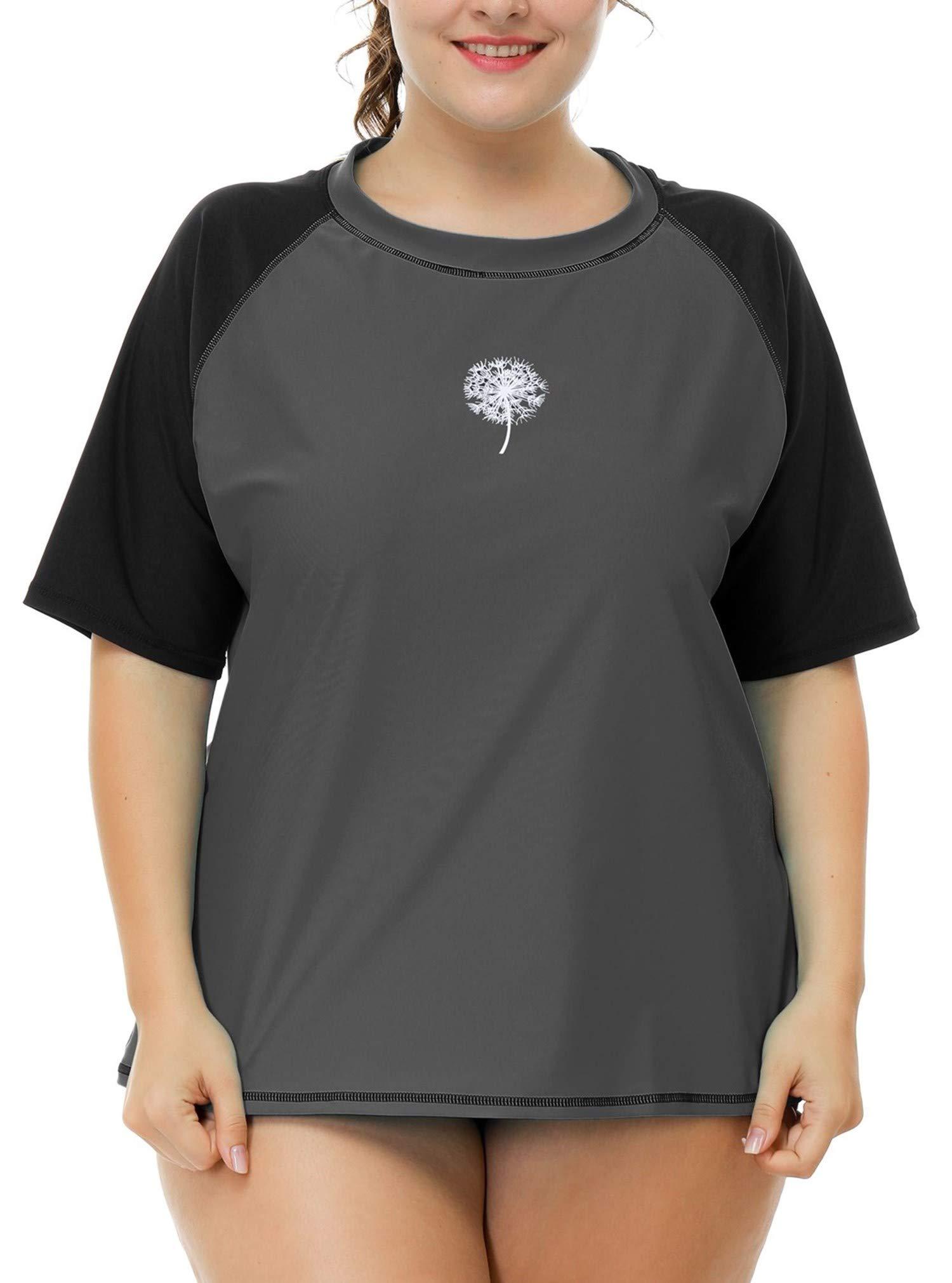 Anwell Ladies Short Sleeve Rash Guard Shirt Plus Size Loose Fit UV Shirt Gray 2X by Anwell (Image #2)