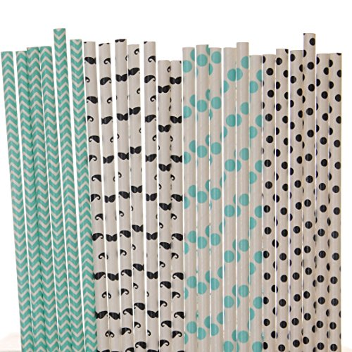 Mustache Paper Straw Mix, Little Man - Aqua Blue, Black, White - Polka Dot, Chevron, Mustache (Party Dangling Cut Outs)