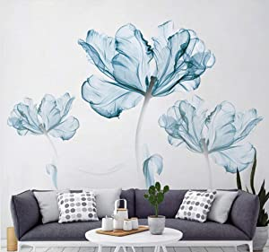 DERUN TRADING Wall Stickers & Murals Home Décor Home Décor Accents for Living Room Flower Wall Decals Home Improvement Paint Wall Treatments Wall Decals Murals Decor Vinyl Removable Mural Paper