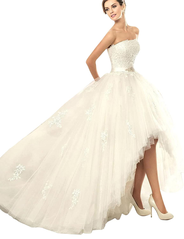 Joyvany Tulle High Low Wedding Dress For Bride Strapless Wedding