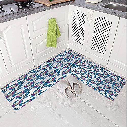 (2 Piece Non-Slip Kitchen Mat Rug Set Doormat 3D Print,Tulip Eco Bouquet Shabby Chic Art Print,Navy,Bedroom Living Room Coffee Table Household Skin Care Carpet Window Mat,)
