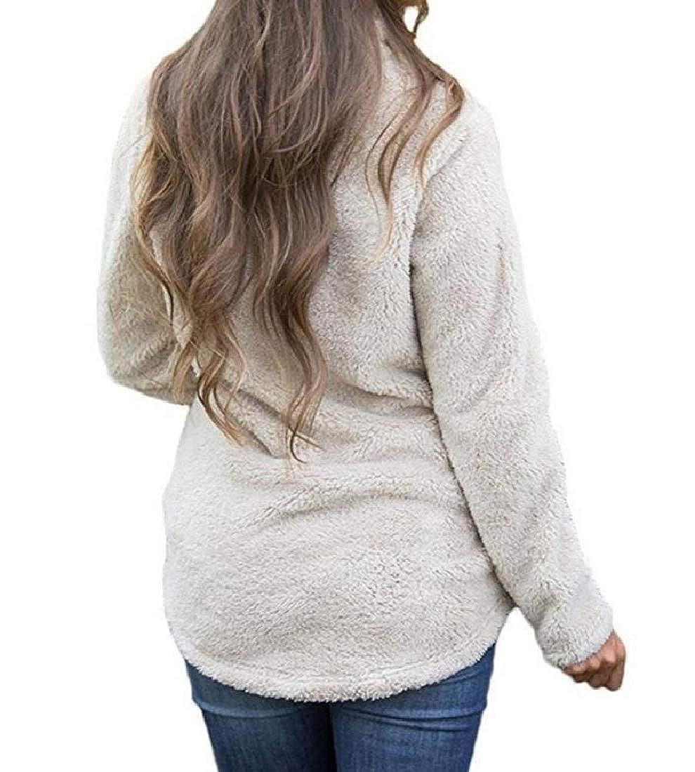 YUNY Womens Sweatshirt Faux Fur Fleece Casual Pullover Outwear Coat Beige M