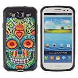 Be-Star Unique Pattern Anti-Skid Hybrid Impact Shockproof Case Cover For SAMSUNG Galaxy S3 III / i9300 / i747 ( Heart Skull Daisy Floral Death Spring )