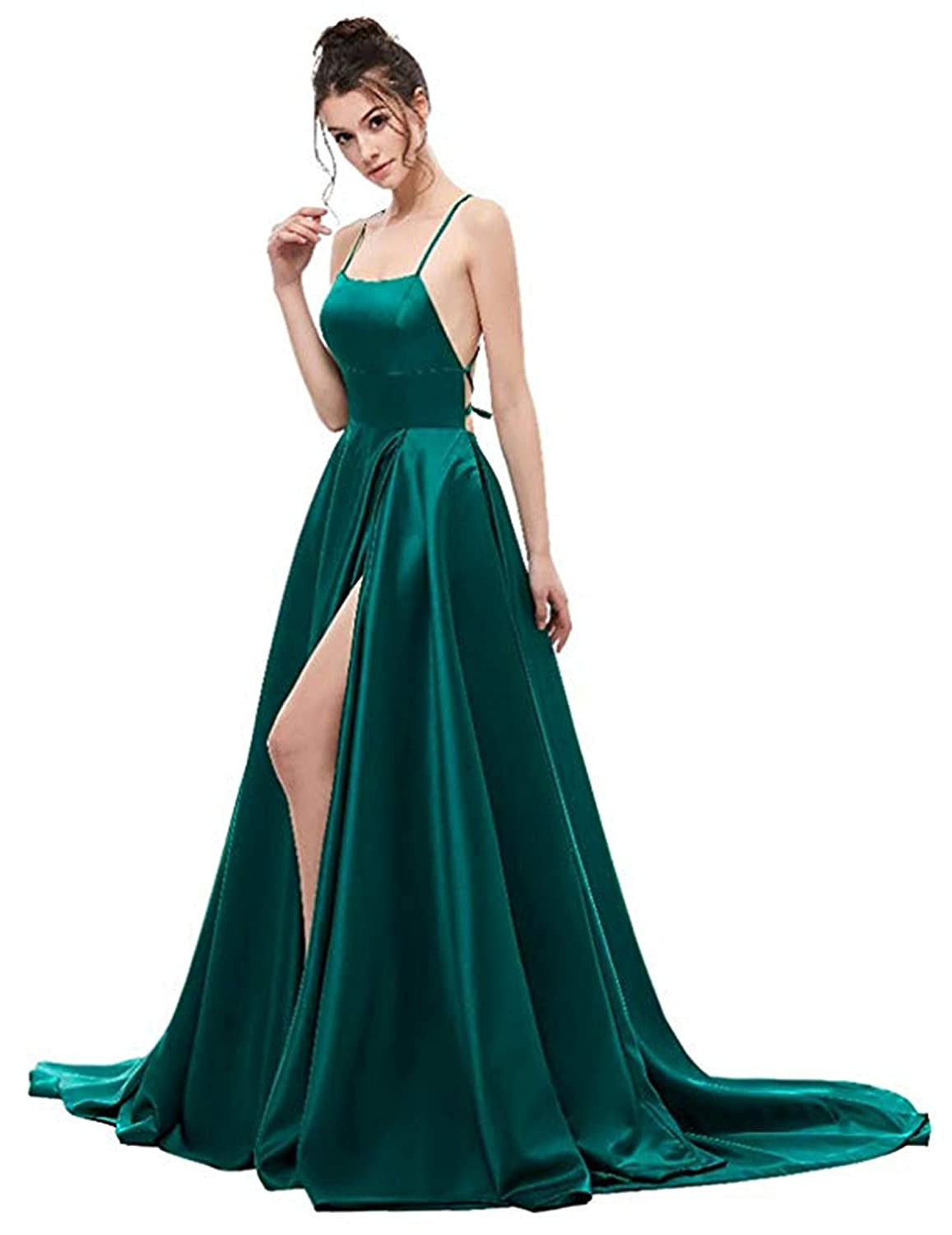 Dark Green Ruiyuhong Women's Satin Sexy Split Prom Dresses Backless Prom Evening Gowns