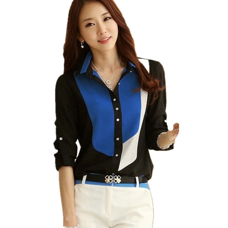 LOBTY Damen Bluse Shirt Arbeits-Hemd-Kragen Langarm OL Sexy Bluseshirt Oberteile Tops