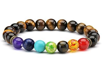 Senlinmu Pierres d\u0027oeil de Tigre 7 Perles de Chakra Yoga équilibrant Les  Bracelets de méditation de Reiki