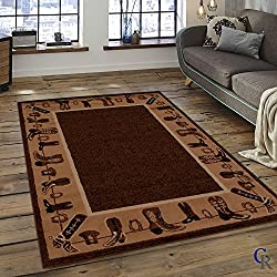 CHAMPION RUGS LODGE CABIN COUNTRY WESTERN THEME COWBOY BOOTS AREA RUG (3 Feet 10 Inch X 5 Feet 2 Inch)
