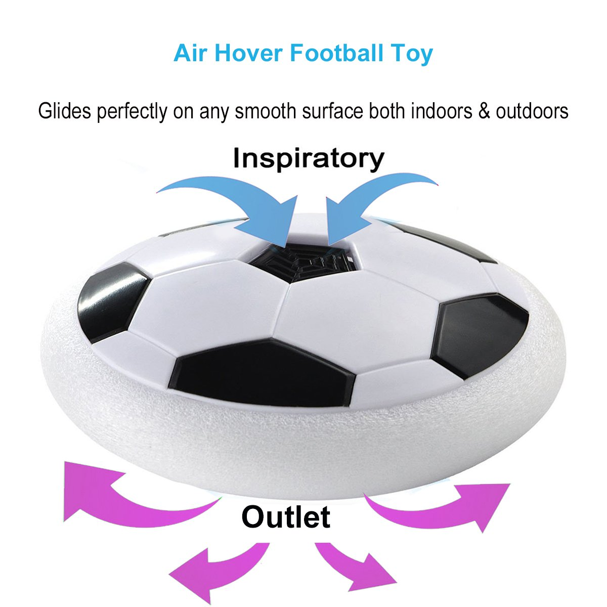 MICKYU Amazing Floating Disk Air Hover Ball Toys Size 4 Boys Girls Kids Indoor Outdoor Sport Soccer Training Football Toy Board Games with Foam Bumpers and LED Lights