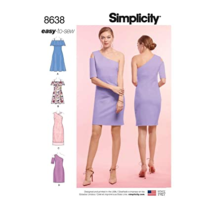 Amazon Simplicity 8638 Misses Easy To Sew Knit Dresses Sz 6 14