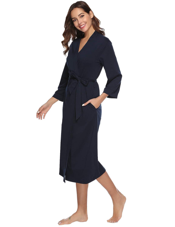 iClosam Batas Mujer Algod/ón Largo,Kimono con Cintur/ón Primavera,Ropa de Dormir Cuello en V Suave y Comodo XXL