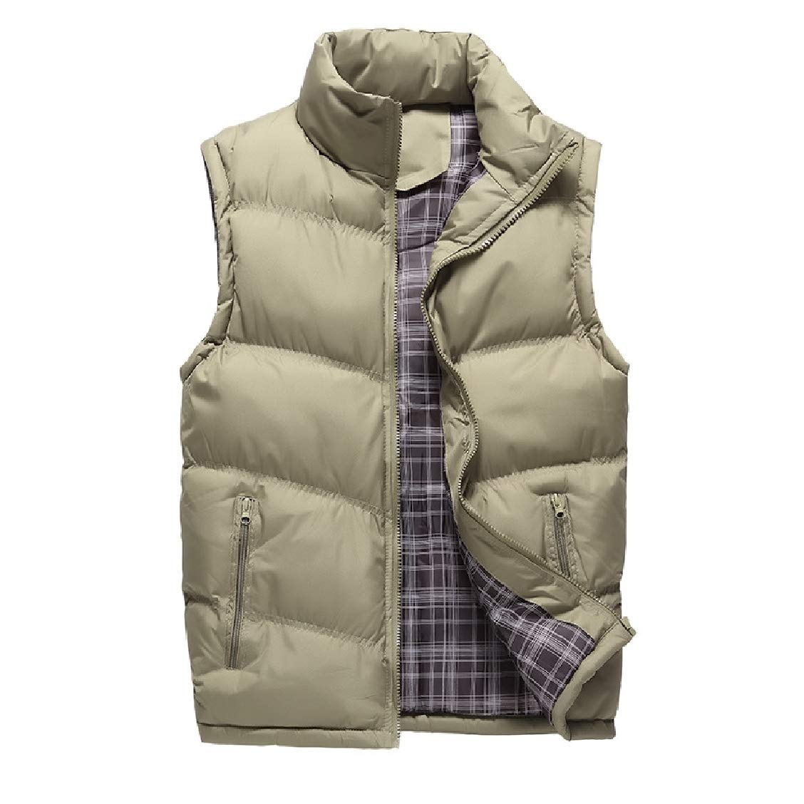 Fieer Mens Solid Cotton Plus-Size Thickening with Zips Outdoor Down Puffer Vest