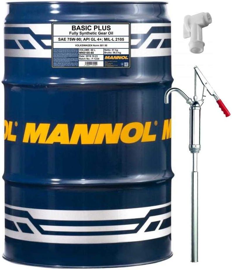 60l Mannol Getriebeöl Basic Plus 75w 90 Api Gl 4 Gear Oil Inkl Auslaufhahn Handpumpe Sae Mil L 2105 501 50 Auto