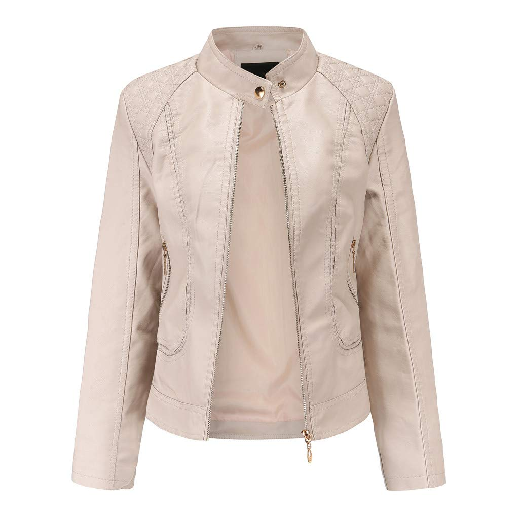 Fitfulvan Womens Leather Jacket - Zipper Short Motorcycle Coat Outwear Khaki