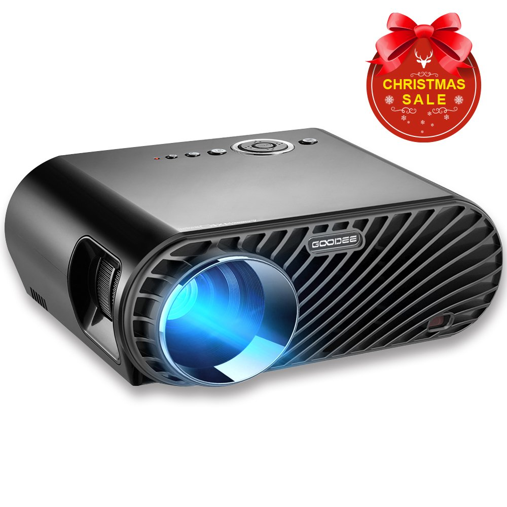 GooDee Portable Movie Projector 3200 Lumens 1280x800 Resolution LCD Max 280'' Home Theater Video Projector with HDMI Support 1080P VGA USB SD AV TV Laptop for Entertainment Game Party