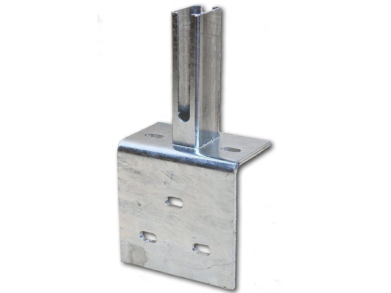 zum Aufschrauben 60x40 mm Zaun-Nagel Winkel-Bodenplatte f/ür Doppelstabpfosten